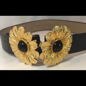 Margarita Barrera Gold Flower Buckle Belt